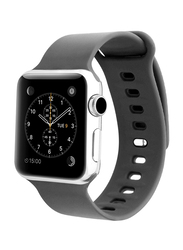 Promate Rarity-42ML Strap for Apple Watch 42mm/44mm Series 1/2/3/4, Medium/Large Size, Adjustable Strap with Sweatproof and Pin-and Tuck Closure, Workout, Fitness, Grey
