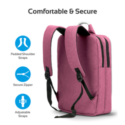 Promate Nova-BP Business Laptop Backpack, Travel Anti-Theft Slim for 15.6 Inch with Water Resistant, Secure Pockets and Adjustable Shoulder Padded Strap, Red