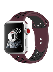 Promate Oreo-38ML Silicone Sport Band for Apple Watch 38mm/40mm Series 1/2/3/4, Medium/Large Size, Dual-Toned Soft Breathable Silicone with Dual Lock Pin and Sweat Resistant, Maroon/Black