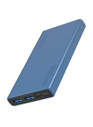 Promate 10000mAh Bolt-10 Portable Fast Charging 2.0A Dual USB Premium Battery Power Bank, with Input USB Type-C Port, Over Charging Protection, Blue