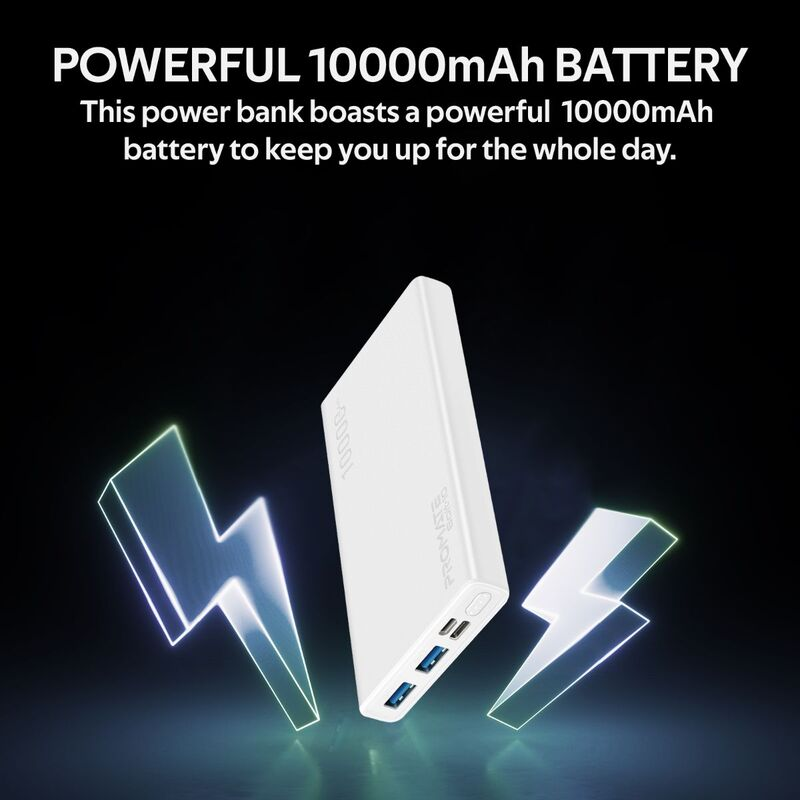 Promate 10000mAh Bolt-10 Portable Fast Charging 2.0A Dual USB Premium Battery Power Bank, with Input USB Type-C Port, Over Charging Protection, White