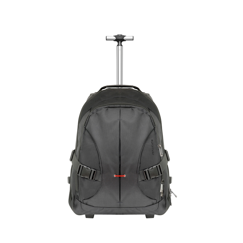 Promate Rover-TR Trolley Laptop Bag, 2-In-1 Portable Rolling with Adjustable Straps, Secure Storage Compartment and Water-Resistant for Laptop Up To 15.6 Inch, Black