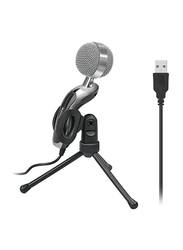 Promate Tweeter-6 Desktop Microphone for MacBook Pro/PC/Laptop/Computer, USB Professional Condenser Sound Podcast Studio Microphone with 360 Degree Rotational Stand, Black