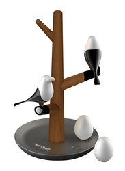 Promate HomeTree-2 LED Desk Lamp, Touch Sensor Magpie/Egg Night Light Home Decor, Detachable Bulbs, Magnetic Mounts and Built-In Rechargeable Battery for Home/Key Storage, Sapele/Black/White