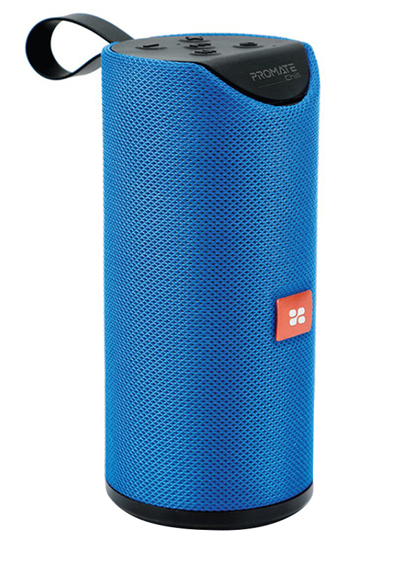 Promate Chill Portable Wireless Bluetooth v5.0 Stereo Speaker with 6W HD Sound, Built-In Mic, Micro SD Card Slot, In-Line AUX and 1200mAh Rechargeable Battery, Blue