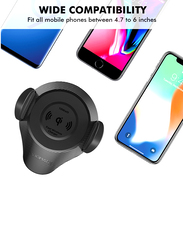 Promate AlphaMount Qi Wireless Car Charger Mount, 10W Fast Charging Car Phone Anti- Slip Holder with Dashboard Windshield Air Vent Mount and 360 Swivel Head, for  Mobile Phones, Black