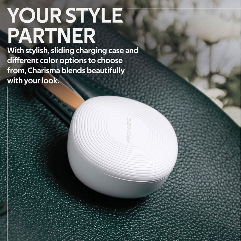 Promate Charisma True Wireless In-Ear Earbuds, Bluetooth 5.0, Stylish TWS Stereo with Touch Control, Charging Case, Anti-Drop Ear Hooks, 24H Playtime and Built-In Mic, White