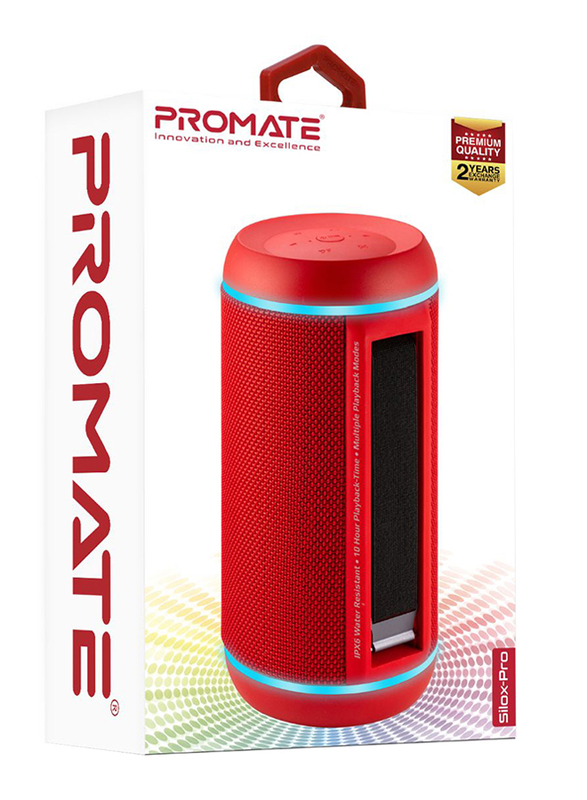 Promate Silox-Pro Portable Indoor/Outdoor 30W Wireless Bluetooth Stereo Speaker, IPX6 Water-Resistant with Mic, FM Radio, TF Card Slot, USB Port, Audio Jack & Built-In 6600mAh Power Bank, Red