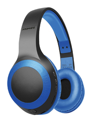 Promate Laboca Wireless Over-Ear Deep Bass Headphones with Built-in Mic, MicroSD Card Slot, Blue