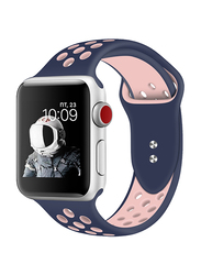 Promate Oreo-42ML Silicone Sport Band for Apple Watch 42mm/44mm Series 1/2/3/4, Medium/Large Size, Dual-Toned Perforated Silicone with Secure Dual Pin-Tuck Closure and Sweat-Resistant, Blue /Pink