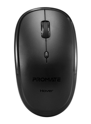 Promate Hover Wireless Sleek Precision Tracking Ergonomic Optical Mouse, Black