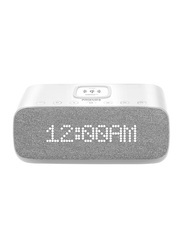 Promate Evoke 10W HD Portable Bluetooth Speaker, with Qi Wireless Charger, Digital Alarm Clock, Mic, USB Media/Charging Port, FM Radio, AUX and TF Card Slot, White