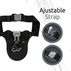 Promate Bolster Universal Camera Waist Belt Clip Holster for DSLR/Canon/Nikon/Sony with Quick Release Launch, Black