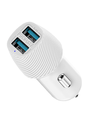 Promate VolTrip Duo 3.4A Fast Charging Car Charger, with Smart Output and Short Circuit Protection, White
