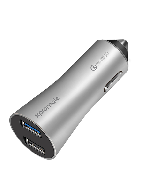 Promate Robust-QC3 Car Charger, Heavy-Duty Qualcomm Quick Charger 3.0 Dual USB Port Car Charger with Short Circuit and Over Charging Protection for GPS, iPod, Mobile Phones and Tablets, Silver