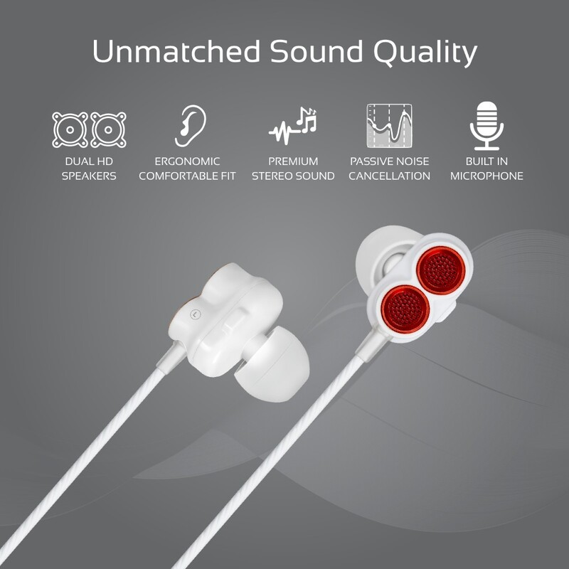 Promate Ivory In-Ear Earphones, Premium Dual-Driver Stereo Earbuds with Dual Dynamic Sound, Built-In Microphone, Anti Tangle Cords and Noise Isolation, Maroon
