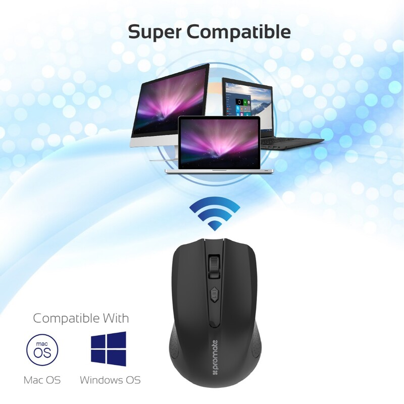 Promate CLIX-8 2.4G Optical Wireless Mouse, Portable, USB Nan Receiver 10m Working Distance, Auto Sleep Function and 3 Adjustable DPI Level, Black
