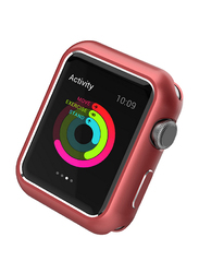 Promate Magnex-44 Bumper for Apple Watch Series 4, Innovative Magnetic Absorption Aluminum Case Cover with Scratch Resistance and All-Round Shock Proof Protector, Red