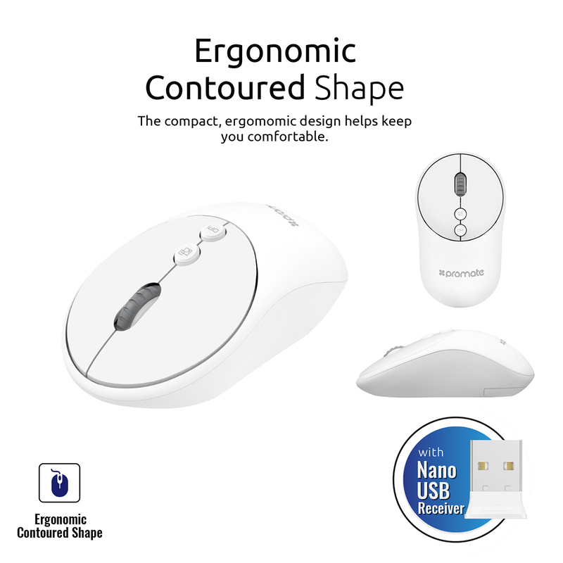 Promate CLIX-2 2.4Ghz Wireless Mouse, USB Adapter, One-Touch Show Desktop for Windows, White