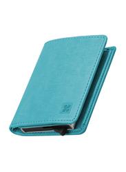 Promate RFIDWallet Ultra Slim Bi-Fold Leather Wallet for Men, Blue