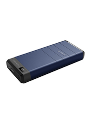 Promate 30000mAh Capital-30 Qualcomm QC Fast Charging Power Bank with USB Type-C Input, with LED Display, Blue