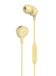 Promate Ice 3.5mm Jack In-Ear Noise Isolation Earphones with Hi-Res Built-in Mic, Yellow