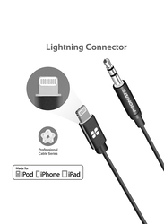 Promate 1-Meter AudioLink-LT1 Lightning AUX Cable, Lightning Male to 3.5mm AUX, Apple MFi Certified, Headphone Jack Adapter Stereo Audio, Digital Analog Converter for Bose/Marshall, Black