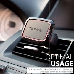 Promate AirGrip Magnetic AC Vent Car Phone Mount, Universal with Built-In 6 Strong Magnets, Anti Slip Surface and 360 Rotation Air Vent, Maroon