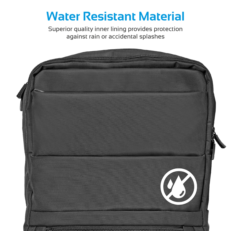 Promate Apollo-BP Laptop Backpack, Slim Lightweight Dual Pocket Water Resistance with Multiple Compartment and Anti-Theft Pocket for 15.6 Inch Laptops, Tablets, Black