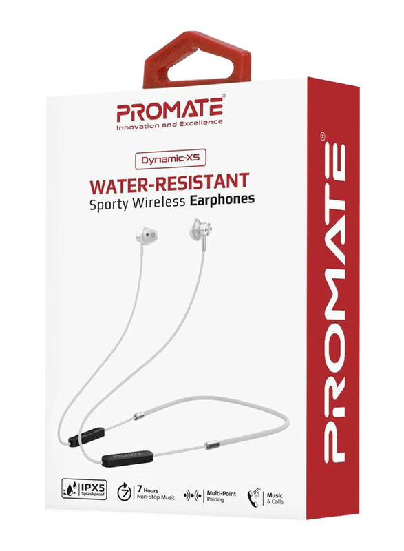 Promate Dynamic-X5 Bluetooth In-Ear Noise Isolation Neckband Sporty Earphones with Built-in Mic, IPX5 Water Resistant, Silver