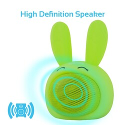 Promate Bunny Kids Bluetooth Speaker, Portable Wireless V4.1 Speaker with HD Sound Quality, Hands-Free Call Function and Cute Bunny Design, Green