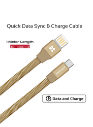 Promate 1.2-Meter Coiline-C Auto-Coiling USB-C Cable, 2A Fast Charge/Sync USB-A to Type-C Cable, with Premium Fabric Braided Aluminium Alloy Reversible Cord for All Type-C Smartphones/Tablet, Gold