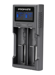 Promate PowerBay 2 Rechargeable Battery Charger, with LCD Display and Ultra-Fast Dual Mode, Smart Voltage Regulation and 2A Fast Charge-In for Ni-MH/Ni-CD AA/AAA/AAAA, Black