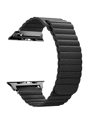 Promate Lavish-42 Leather Band for Apple Watch 42mm/44mm Series 1/2/3/4, Lightweight Stylish Leather Loop Wristband with Strong Magnetic Closure Strap, Black