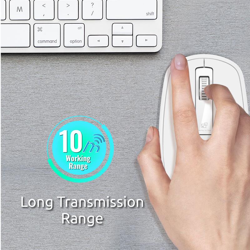 Promate CLIX-3 2.4 Ghz USB Wireless Ergonomic Mouse, Precision Scrolling for Windows Mac, White