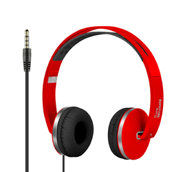 Promate Swing Headphones, Premium Hi-Fi Stereo, Noise Cancelling, Wired with Foldable Earpads, Anti-Tangle Cord and Built-In Microphone, Red