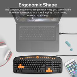 Promate EasyKey-2 Gaming Keyboard, Ergonomic Multimedia with Swappable Gaming Keys, 10 Million Keystroke Life, Quiet Keys, Black