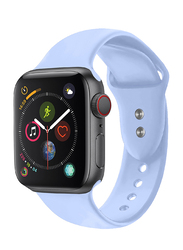 Promate Oryx-42SM Silicone Wrist Strap for Apple Watch 42mm/44mm Series 1/2/3/4, Small/Medium Size, Durable Sweatproof Strap with Secure Double Lock Pin and Adjustable Soft Band, Light Blue