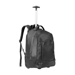Promate Transit-TR Laptop Trolley Bag, Business Styled High Capacity with Adjustable Handle, Secure Multiple Storage and Water-Resistant Nylon Fabric for 15.6 Inch Laptop, Black