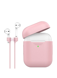Promate PodKit Silicone Case for Apple AirPods/AirPods 2 with Strap, Premium Protective Cover with Magnetic Anti-Lost AirPods Strap and Wireless Charging Compatible Design, Pink