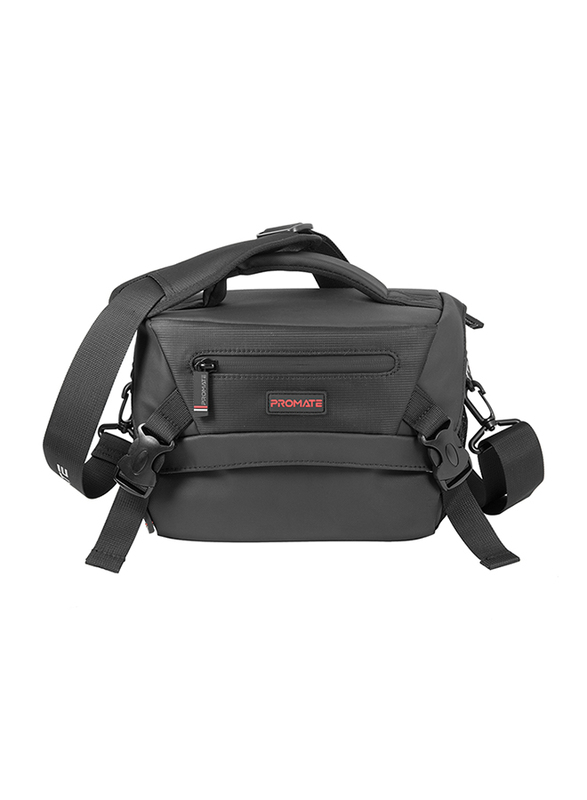 Promate Arco Large Premium Compact DSLR Camera Bag for Nikon/Canon/Sony, with Rain Cover, Padded Shockproof Interior, Adjustable Compartments and Shoulder Strap, Black