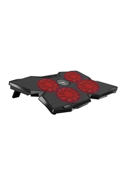Promate AirBase-3 Ergonomic Gaming Laptop Cooling Pad for Laptop Upto 17-inch, High-Speed with 4 Silent Cooling Fan, Dual USB Port, LED Speed Display, Cable Organizer & Anti-Slip Grip, Black