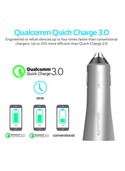 Promate Robust-QC3 Car Charger, Heavy-Duty Qualcomm Quick Charger 3.0 Dual USB Port Car Charger with Short Circuit and Over Charging Protection for GPS, iPod, Mobile Phones and Tablets, Grey