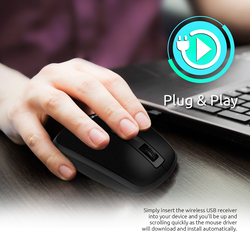 Promate CLIX-3 2.4 Ghz USB Wireless Ergonomic Mouse, Precision Scrolling for Windows Mac, Black