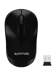 Promate CLIX-1 2.4Ghz Optical Wireless Mouse, Nano Bluetooth USB Receiver, 15 Meter Working Range, Black