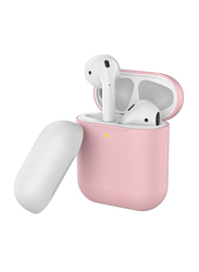 Promate SiliCase Silicone Case for Apple AirPods/AirPods 2, Slim-Fit Two-Tone Shockproof Protective Wireless Charging Cover with Dual-Lid, Scratch Resistance and Anti-Slip, Pink