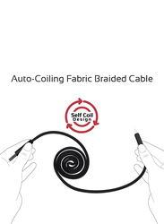 Promate 1.2-Meter Coiline-C Auto-Coiling USB-C Cable, 2A Fast Charge/Sync USB-A to Type-C Cable, with Premium Fabric Braided Aluminium Alloy Reversible Cord for All Type-C Smartphones/Tablet, Black