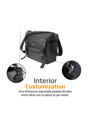 Promate Arco Medium DSLR Messenger Bag for Camera/Camcorder/Lens, with Durable Shock Resistant, Shoulder Strap, Adjustable Foam Padded Compartments and Rain Cover, Black