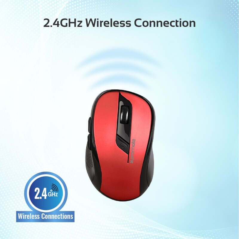 Promate CLIX-7 Optical Wireless Mouse, 2.4Ghz Portable, USB Nano Receiver, 3 Adjustable DPI, 6 Buttons, 10m Working Range and Auto-Sleep Function, Red