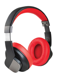Promate TrueBeats Wireless Bluetooth Over-Ear Noise Cancelling Music Headphones with Mic, Soft Earpads, 20Hrs Playtime and 3.5mm Wired Mode, Red